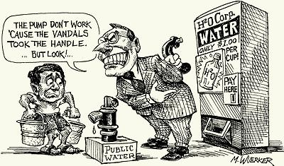 Water and money, cartoon